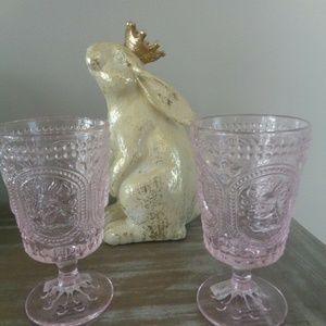 PK BUNNY Knobby FOOTED GOBLETS Drinking Glasses 4
